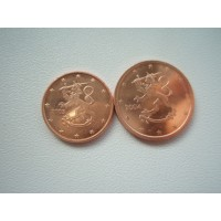 Finland 1 cent (2003) and 2 cents (2004)