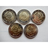 2012 Germany   10th anniversary of Euro coins and banknotes ADFGJ